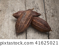 cocoa fruit on rustic wooden background 41625021