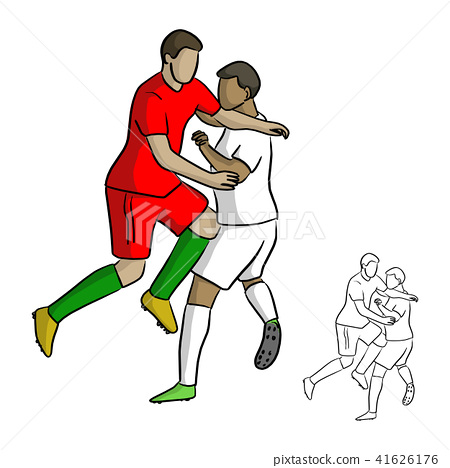male soccer players attack each other in the game 41626176
