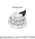 Blueberry tart, hand draw sketch vector. 41627506