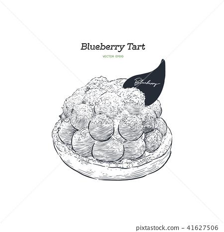 Blueberry tart, hand draw sketch vector. 41627506