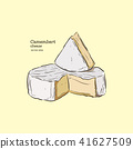 camembert cheese, hand draw sketch vector. 41627509