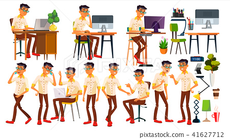 Office Worker Vector. Thai, Vietnamese. Face Emotions, Gestures. Animated Elements. Poses. In Action 41627712