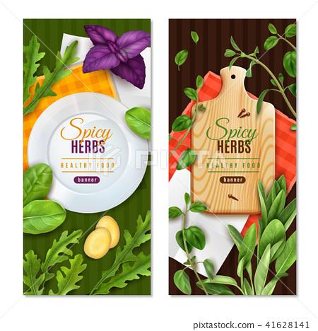Realistic Herbs Banners Stock Illustration 41628141 Pixta