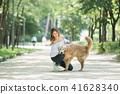 젊은여자, 개, 강아지, 애완동물, 골든 리트리버 41628340