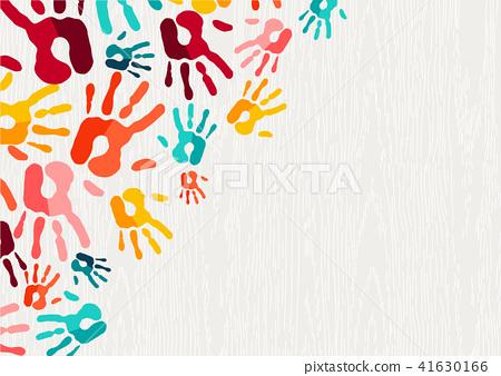 Human hand print color background art 41630166
