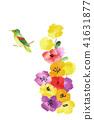 Washi紙Chiiri繪畫三色堇和鳥 41631877