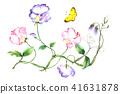 蝴蝶花水彩畫春天的花朵 41631878