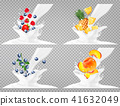 Collection of fruit in a milk splash.  41632049