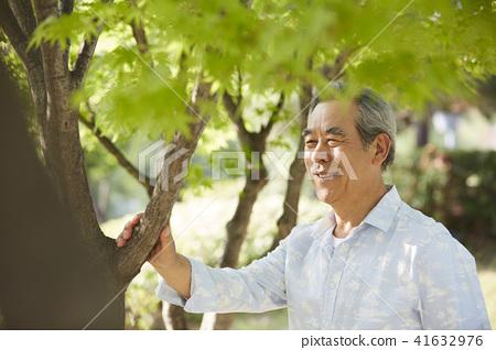 生活,老人,男人,公園 41632976