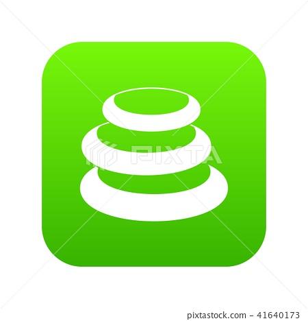 Stack of basalt balancing stones icon digital green 41640173