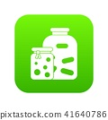 Jars with pickled vegetables and jam icon digital green 41640786