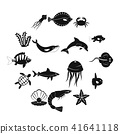 Sea animals icons set, simple style 41641118