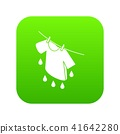 Shirt drying icon green vector 41642280