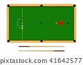 Flat cartoon snooker table, billiard ball set 41642577