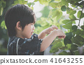 A little lovely boy in a kimono playing in a park 41643255