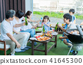 Three generations family, meal, barbecue, toast 41645300