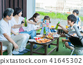 Three generations family, meal, barbecue, toast 41645302