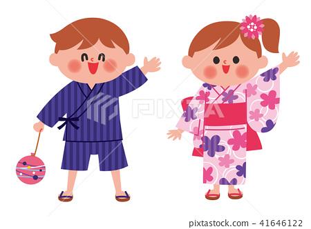 孩子们穿着浴衣 41646122