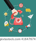 Hand picking up the phone with business icons 41647674