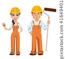 Builder man and woman in uniform 41649401