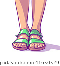 Illustration of young girl wearing summer sandals 41650529