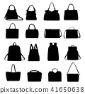 Set of black silhouettes of handbags, vector. 41650638