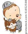 Dog Kid Boy Toddler Army Brat Pet Illustration 41652598