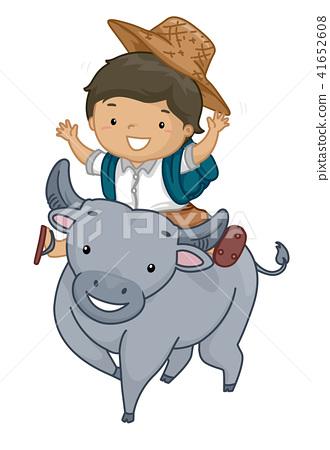 Kid Boy Student Carabao Ride Illustration 41652608