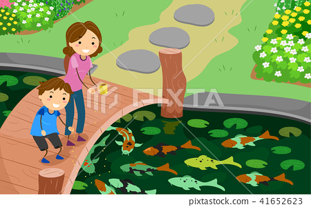 Stickman Kid Mom Feed Koi Fishes Illustration 41652623