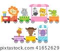 Zoo Animals Colorful Train Illustration 41652629