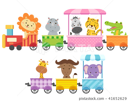 Zoo Animals Colorful Train Illustration 41652629