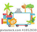 Zoo Animals Train Board Illustration 41652630