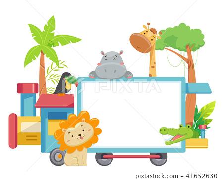 Zoo Animals Train Board Illustration 41652630