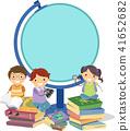 Stickman Kids Geography Globe Frame Illustration 41652682