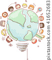 Stickman Kids Geography Light Bulb Illustration 41652683