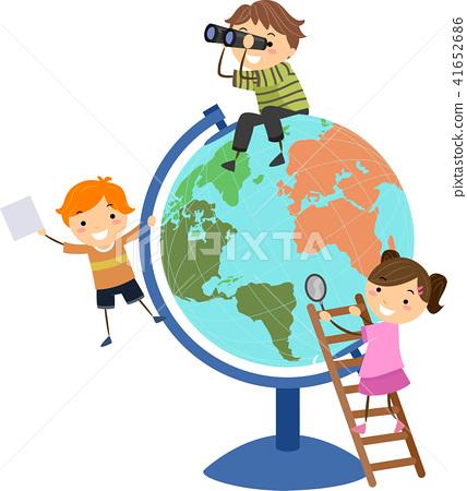 Stickman Kids Globe Play Illustration 41652686
