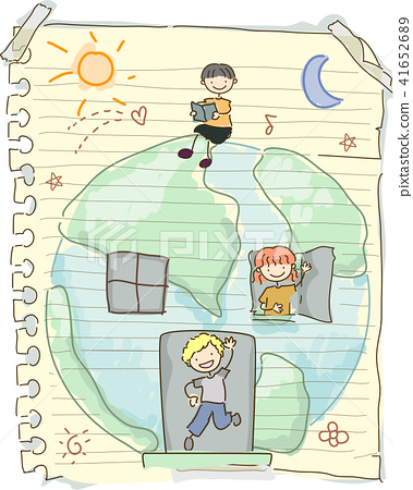 Stickman Kids Paper Play Earth Illustration 41652689