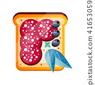 Toasted sandwich with salami and olives vector Illustration on a white background 41653059