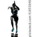 african runner running sprinter sprinting woman isolated white b 41655646