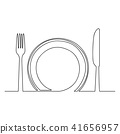 Empty plate and knife one line Vector Illustration 41656957