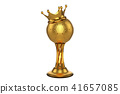 golden football trophy with a king crown on top, 41657085