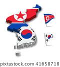 Flag of North Korea and South Korea, Map 41658718