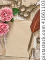 Old letters antique feather pen pink rose flowers 41661103