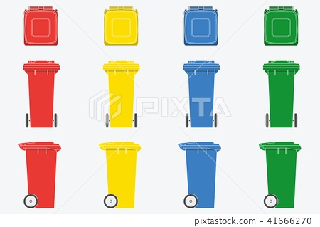 Set of wheelie bin isolated on white background 41666270