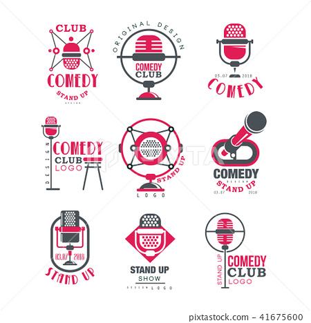Comedy Club Logo Design Set Stand Up Show Stock Illustration