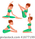 Yoga Female Vector. Stretching And Twisting. Practicing. Playing In Different Poses. Woman. Isolated 41677199