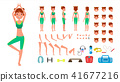 Yoga Woman Vector. Prenatal Yoga Animated Character Creation Set. Woman Full Length, Front, Side 41677216