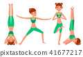 Yoga Woman Poses Set Female Vector. Yoga Figures, Silhouettes. Different Positions. Isolated Flat 41677217