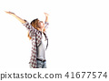 happy hipster elated woman with arms out raised  41677574