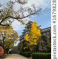 Autumn scenery of Okayama castle in Japan 41679828